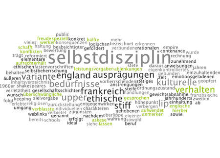 specifically: Word cloud of self-discipline in German language Stock Photo