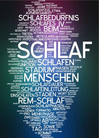 hypothalamus: Word cloud of sleep in German language