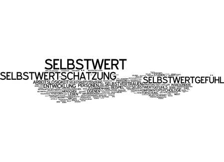 humiliated: Word cloud of self-worth in German language Stock Photo