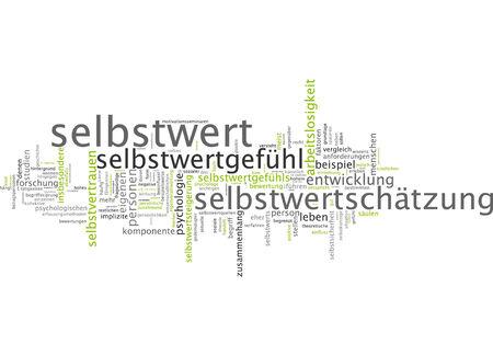 self worth: Word cloud of self-worth in German language Stock Photo