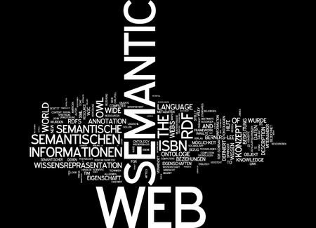 ontology: Word cloud of semantic web in German language Stock Photo