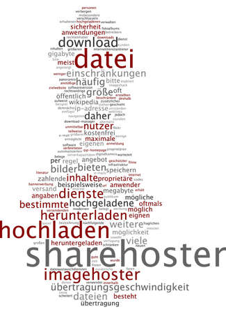 payable: Word cloud of sharehoster in German language Stock Photo
