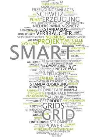 smart grid: Word cloud of smart grid in German language