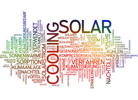 Word cloud of cooling solar in German language Stock Photo