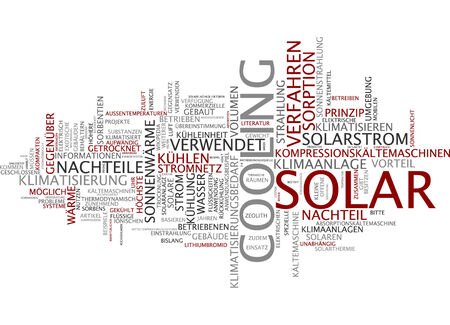 thermodynamic: Word cloud of cooling solar in German language Stock Photo