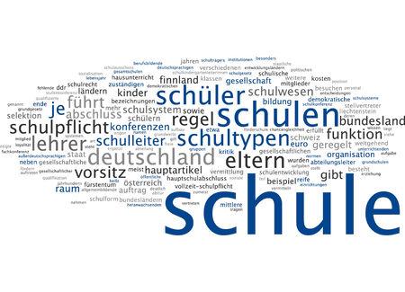 compulsory: Word cloud of school in German language Stock Photo