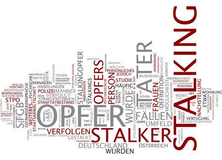Word cloud of stalking in German language Banque d'images