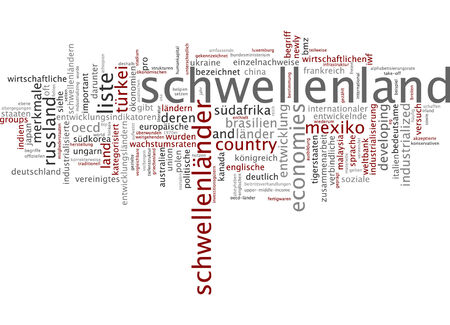 industrialized country: Word cloud of emerging country in German language Stock Photo