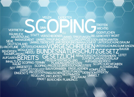 legally: Word cloud of scoping in German language Stock Photo