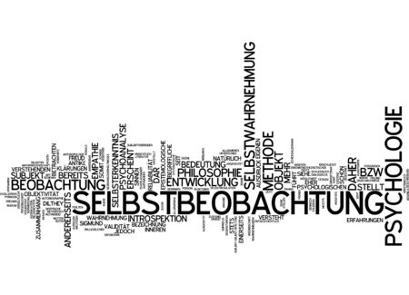 introspection: Word cloud of introspection in German language Stock Photo