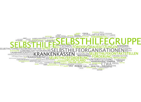 self help: Word cloud of support group in German language Stock Photo
