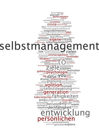 meaningful: Word cloud of self management in German language