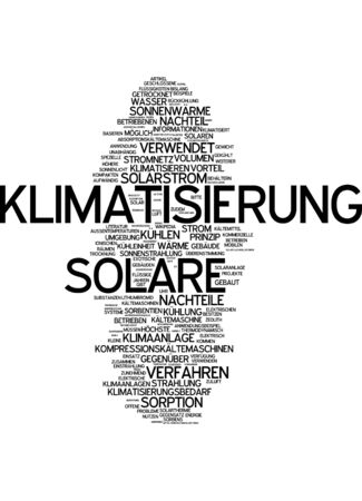 Word cloud of air-conditioning in German language Stock Photo