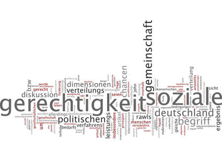 proceedings: Word cloud of social justice in German language Stock Photo