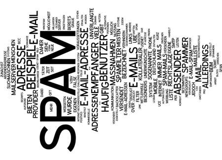 unsolicited: Word cloud of spam in German language Stock Photo