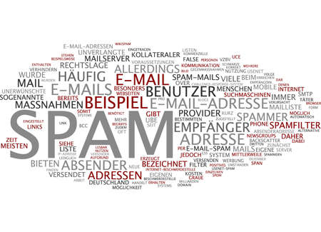 spammer: Word cloud of spam in German language Stock Photo