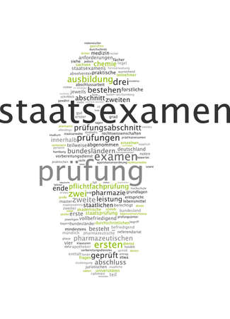 exist: Word cloud of state examination in German language