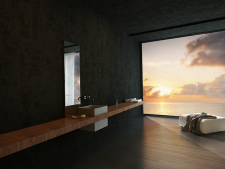 fittings: Modern bathroom interior with a wall-mounted vanity, ottoman and a colorful orange ocean sunset view in a waterfront property or apartment Stock Photo