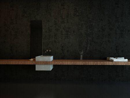 인테리어 건축 세부 사항 다크 미니멀리스트 욕실의 현대 싱크 및 플로팅 카운터 스톡 콘텐츠