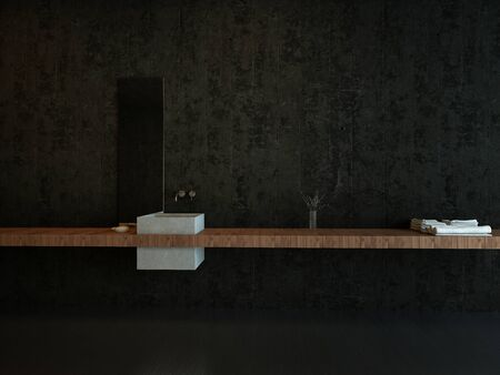 Interior Architectural Detail Modern Sink and Floating Counter in Dark Minimalist Bathroom Фото со стока