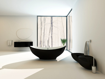 corner tub: Contemporary black bathroom suite with a boat-shaped freestanding bathtub, wall-mounted vanity, toilet and bidet in a luxury bright white airy bathroom interior with floor-to-ceiling window