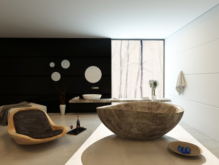 fittings: Contemporary luxury bathroom interior with a freestanding marbled bath , modern wooden recliner chair and wall mounted vanity on a black accent wall with a counter extending across a large view window