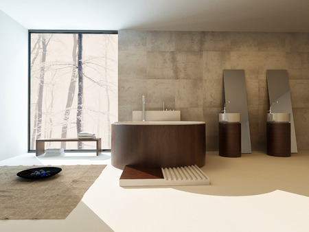modern bathroom design: Modern bathroom interior with a circular brown suite with freestanding bathtub and hand basins against a travertine tiled wall with a large view window in an upmarket home