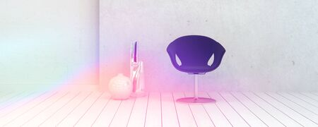 uncarpeted: Single Chair and Vase Decorations Inside an Empty White Room Illuminated by Light. Stock Photo