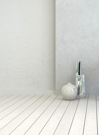 floorboards: Dos floreros en un interior blanco habitaci�n r�stica limpia con tablas de madera pintadas de blanco y la pared, opini�n del primer vertical con copyspace para la colocaci�n de la decoraci�n o el texto Foto de archivo