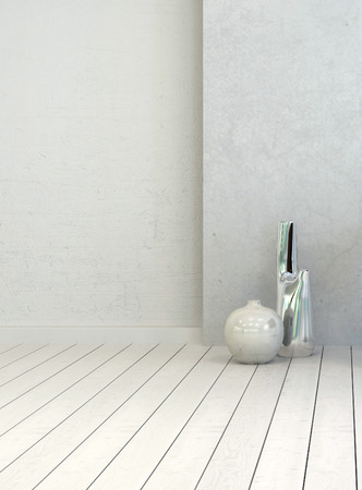 uncarpeted: Two vases in a clean white rustic room interior with painted white wooden floorboards and wall, close up vertical view with copyspace for decor placement or text