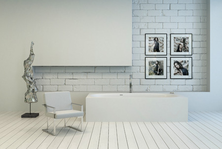 uncarpeted: Modern white bathroom with a recessed brick wall and white painted parquet with an armchair, modern abstract sculpture and artwork on the wall Stock Photo
