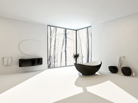 corner tub: Luxury spacious airy bright white modern bathroom interior with black boat-shaped bathtub and matching vanity, toilet and bidet with floor-to-ceiling corner windows