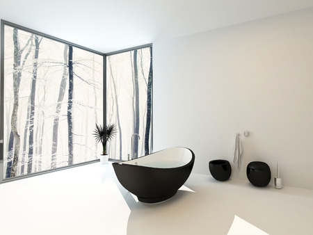 corner tub: Boat-shaped black bathtub with wall mounted toilet and bidet in a spacious bright light white modern bathroom with floor-to-ceiling windows