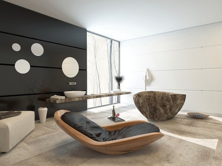 Contemporary design in a luxury bathroom interior with a comfortable wooden recliner chair, ottoman, marble patterned oval tub hand black accent wall with a wall mounted and basin over a large window