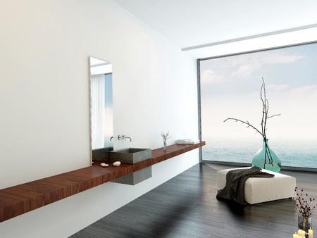 Wand waschbecken in einem minimalistischen luxus hellen luftigen