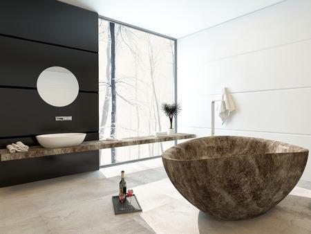 marbled: Moderna vasca da bagno in marmo in un bagno di lusso con decorazioni in bianco e nero e una grande finestra di visualizzazione dal pavimento al soffitto che permette in un sacco di luce del giorno Archivio Fotografico