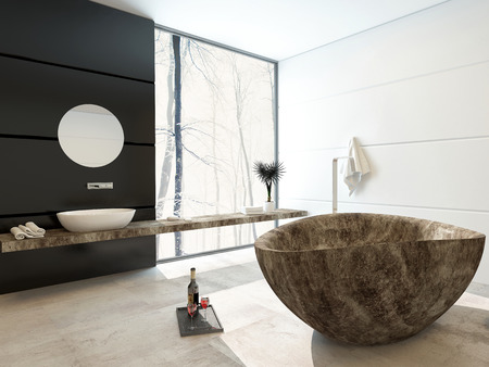Modern marbled bathtub in a luxury bathroom with black and white decor and a large floor-to-ceiling view window allowing in lots of bright daylight