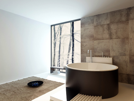 travertine house: Contemporary design luxury bathroom interior with a freestanding round brown bathtub against a beige tiled travertine wall with a corner floor-to-ceiling view window reflecting light off a white wall