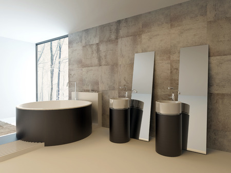upmarket: Upmarket modern bathroom interior in brown and beige with a contemporary circular bathtub and vanities against a travertine tiled wall with freestanding rectangular mirrors, lit by a corner window