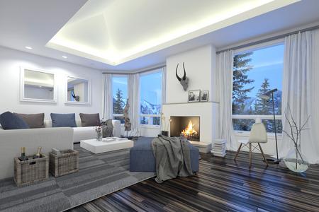 iluminacion: Grande Habitación amplia y moderna de estar con una quema de fuego en el hogar, iluminación, piso de parquet de madera y cómodos muebles de salón blanco frente a grandes ventanales con vistas a los pinos