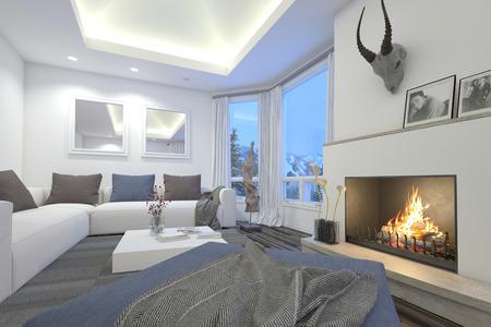 Sala de estar de lujo interior con una llama de fuego, luces de techo empotradas, cómodos sofás modulares y un trofeo montado en la chimenea junto a una puerta de cristal del patio Foto de archivo