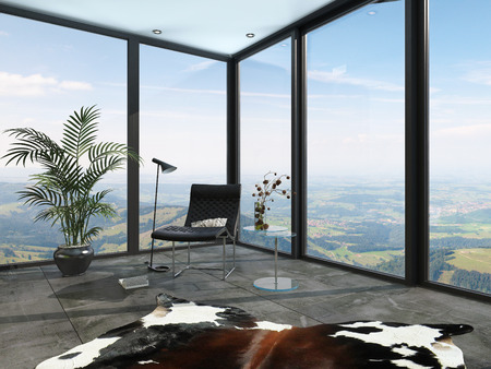 Wrap around glass windows with a country view with a tiled floor, animal skin, potted palm and chair in an architectural background