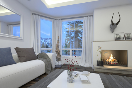 surmounted: Cozy living room interior with an upholstered white couch and burning fire surmounted by a trophy alongside a patio door and window Stock Photo