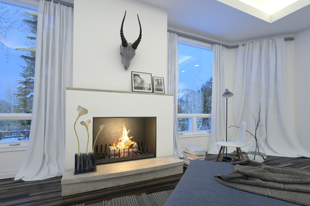 recessed: Modern stylish white living room interior with a fire burning in the grate under a hunting trophy flanked by view windows with white drapes overlooking trees and overhead recessed lighting