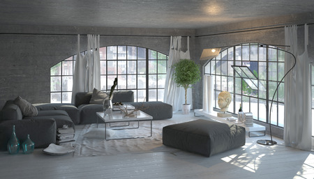 Modern living room interior with large arched windows overlooking a garden with stylish grey and white decor and houseplants