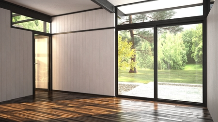 Architectural background of a modern empty room with floor-to ceiling window overlooking a lush garden and outdoor patio with an interior glass door over a hardwood parquet floor