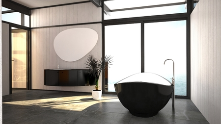 wall mounted: Modern stylish black and white bathroom interior with a freestanding boat-shaped bathtub and wall mounted vanity between a window and glass door