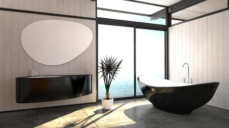 corner tub: Modern elegant boat-shaped black bathtub standing in a bright airy bathroom with a floor-to-ceiling window and wall-mounted vanity unit with a trendy mirror