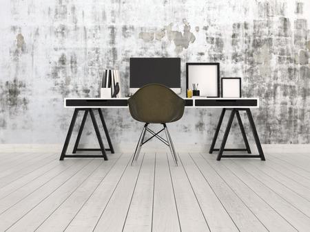 muebles de oficina: Interior de la oficina negro y gris moderno con un escritorio de caballete con monitor de escritorio, silla y marcos en blanco sobre un piso de madera desnuda contra una pared gris con dibujos abstractos