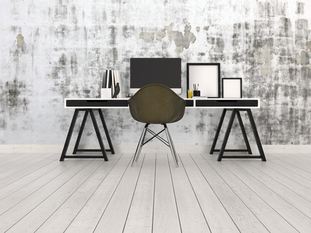 Moderne zwarte en grijze kantoor interieur met een bok bureau met desktop monitor, stoel en lege foto frames op een kale hardhouten vloer tegen een abstracte patroon grijze muur